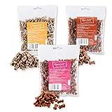 Chewies Hundeleckerli Mix MAXI - 3 x 200 g - Lamm, Wild und Lachs Knöchelchen - Fleisch Softies ohne Zucker - Hundesnacks mit hohem Fleischanteil (600 g)