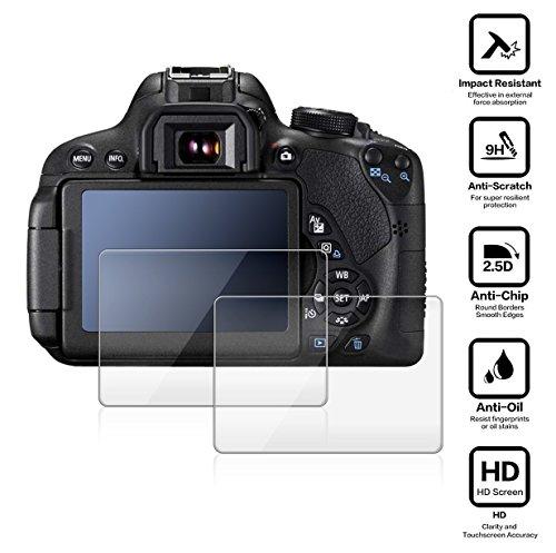 BlueBeach® 2 Pezzi HD Pellicola Protettiva Canon EOS 70D 80D DSLR Temperato di Protezione in Vetro Dello Schermo Schermo Protezione (0.3mm 2.5D 9H Durezza)