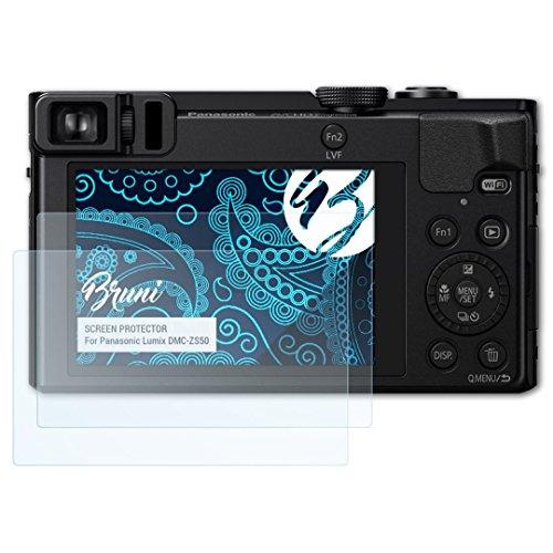 Bruni Schutzfolie kompatibel mit Panasonic Lumix DMC-ZS50 Folie, glasklare Displayschutzfolie (2X)