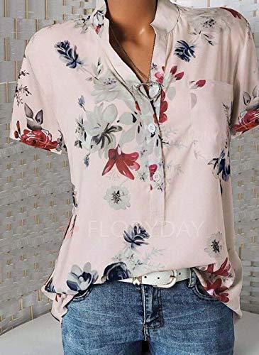 Frauen Casual Bluse Damen V-Ausschnitt Weste Button Up T Shirt Sommer Damenmode Print V-Ausschnitt Kurzarm Tops Tunika Shirts (4XL,Rosa) - Button-up-weste