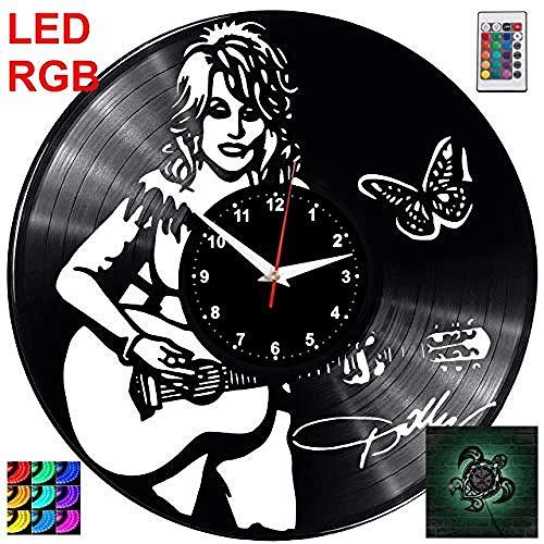 Parton Wanduhr RGB Led Pilot WanduhrRekord Retro Uhr HandgemachtesGeschenk Stil ZimmerHauptdekorationenGroßes Geschenk Uhr ()