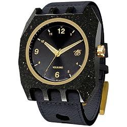 Mistura VOLKANOARKBLKBLK Men's WOODEN Black Leather Band Black Dial Watch