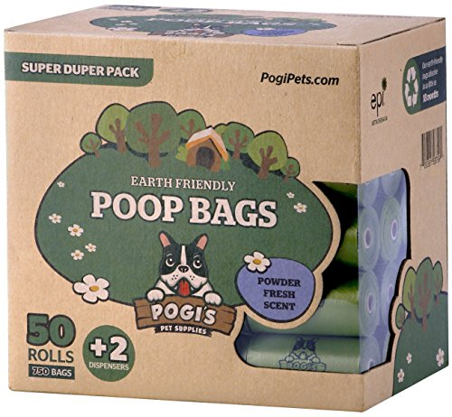 Pogi's Hundekotbeutel – 50 Rollen (750 Tüten) +2 Spender – große, biologisch abbaubare, parfümierte, tropfsichere Hundetüten - 3