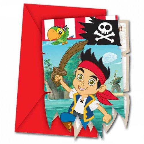 6 bilglietti d'invito jake il pirata per feste a tema