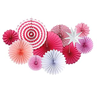 SUNBEAUTY Hanging Paper Fans Rosettes Round Wheel Star Lantern Decoration for Under the Sea Party Baby Shower Wedding Birthday Party Festival Home Decor (Pink)