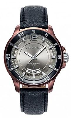 Viceroy 42221-45 - Reloj de caballero de cuarzo, correa de piel color negra, esfera gris de GRUPO MUNRECO - VICEROY