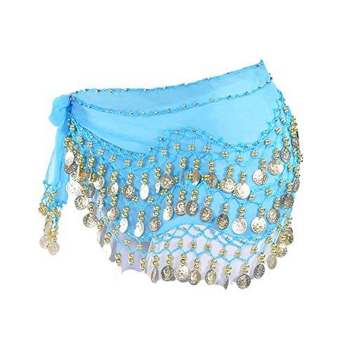 Lonshell Hüft-Tuch für Bauchtanz Münzgürtel Kostüm Hüfttuch Chiffon Rock Wrap Taille Gürtel Strandtuch Wickelbund Kurz Minirock Belly Dance Skirt (Bauch-tanzen-röcke-silber-münzen)