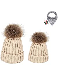 DOTBUY Maman et bébé à Tricoter Bonnet Hiver Chapeau Tricoté Beanie Hats,  2PC Doux Chapeau ab622c9500e