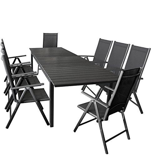 Wohaga 9er Gartenmöbel Set ausziehbarer Aluminium Gartentisch mit Polywood-Tischplatte 280/220x95cm Schwarz + 8X Hochlehner mit 2×2 Textilengewebe, Rückenlehne 7-Fach verstellbar