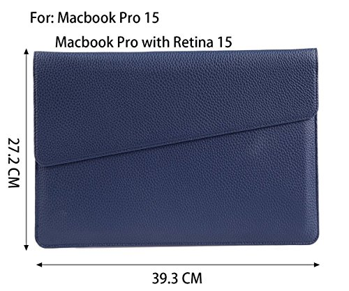 Simtyso MacBook air MacBook Pro iPad Air2 12 zoll hülle leder tasche sleeve case PU Leather Laptop Case Protective Carrying Hüllen Bag Case Cover Shell (12 Zoll, Gold) Dunkelblau