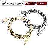 Miger 2-in-1 Hochgeschwindigkeitskabel/ Micro-USB-Kabel, 3m (10 Feet), aus geflochtenem Nylon, passend für iPhone, iPad/iPod und Samsung, Nexus, Nokia, Sony, HTC, etc., 2 Stück mehrfarbig Gray+Gold 3 m
