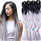 Instylehair Two Ombre Kanekalon Braiding Hair 24''1Pcs 100g Synthetic Braid Hair Extension(1B Grey Color by Instylehair