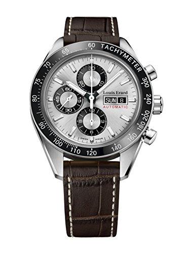 Louis Erard Sportive Automatik Uhr, Silber, Chronograph, Tachymeter, Tag/Datum