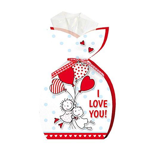 """LIEBE 50g Edel-Vollmilchschokoladen-Herzen STEINBECK""""I love you"""" Geschenk süß Valentinstag Herzen Ich liebe dich Mitgebsel"""