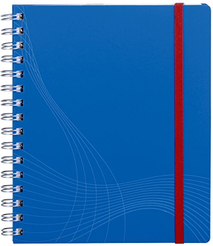 Avery 7033 Notizio Notebook Squared Ruled, White Lines on Grey, Wirebound Plastic Blue Cover (A5)