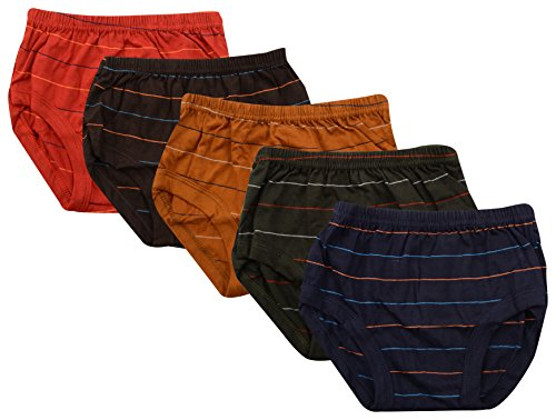 ALOFT Kids' Briefs - Combo of 5 (ALOFTSTAXJETTY, Maroon, Green, Blue, Brown and Red, 3-4 Years)