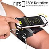 VUP Universal Running Armband, 180° Rotatable Arm Band Mobile Phone Holder Carrier Compatible with iPhone X Xr Xs Max 7/8 Plus Samsung S9 S10 (Black)
