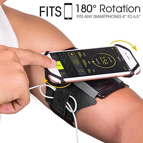 VUP Running Armband, 180° drehbar, Universal Handy Halterung, Kompatibel mit alle 4-6.5 Zoll Smartphones- Schwarz (Sport-armbänder)