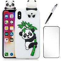 3D Cartoon Panda Case für iPhone 7 Plus/8 Plus Hülle JINCHANGWU TPU Silikon Handyhülle Cover Stoßdämpfung Schutz Tasche Schale Anti-Stoß Kratzfeste Schutzhülle Bumper, Weiß