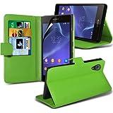 ( Green ) Sony Xperia Z2 Standplatz-Leder-Mappen-Schlag-Fall-Haut-Abdeckung Mit-Schirm-Schutz-Schutz By Spyrox