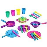 Peradix Kit de Juguetes de Cocina con Ollas y Sartenes Tazas Juegos de Utensilios de Cocina Vajilla para Niños Incluyen Delantal y Bolsa de Almacenamiento