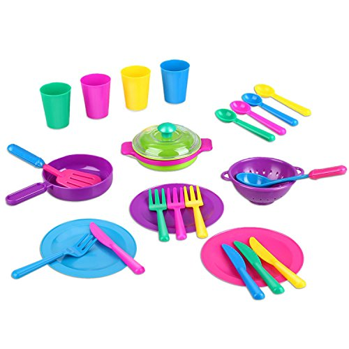 Peradix Toys Dishes 28 Pcs (with Apron) Childrens Kitchen Accessories & Toy Tea Set for Children Kids Pretend Play