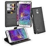Cadorabo Hülle kompatibel mit Samsung Galaxy Note 4 Hülle in Phantom SCHWARZ Handyhülle mit Kartenfach und Standfunktion Schutzhülle Etui Tasche