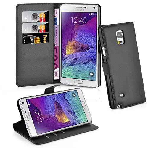Samsung Galaxy NOTE 4 Hülle in SCHWARZ von Cadorabo - Handyhülle mit Kartenfach und Standfunktion für Galaxy NOTE 4 Case Cover Schutzhülle Etui Tasche Book Klapp Style in PHANTOM SCHWARZ Galaxy Note Tab 4 Case