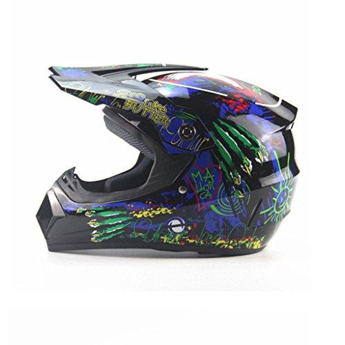 Helm Vier Jahreszeiten Motorrad Männer Und Frauen Batterie Bike Mountainbike Voller Helm Piraten Schädel Muster Licht Off-road Helme Vielzahl Optional (Farbe : B, größe : S)