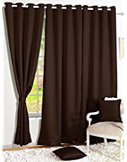 Story@Home Blackout Faux Silk Superior 2 Piece Plain Solid Door Curtains