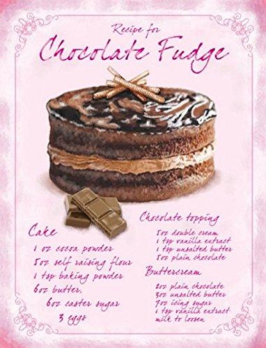 Recipe Chocolate Fudge Kuchen Blechschild Stabil Groß NEU 40x30cm S2572