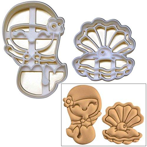 Set di 2Formine per biscotti (sirena e Pearl Oyster per biscotti), 2pezzi, ideale per feste (Wedding Pearl Tema)