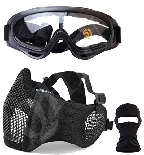 QHIU Demi-Masques Tactique de Maille en Acier avec Protection Oreille et Lunettes Goggle et Masque de intégrale du Visage pour CS Airsoft Paintball Protection Extérieure