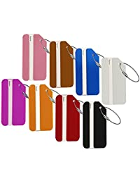 Etiquetas de equipaje, etiqueta de aluminio Metal bolsa de viaje ID identificador etiquetas etiqueta para equipaje maleta bolsas, 8colores