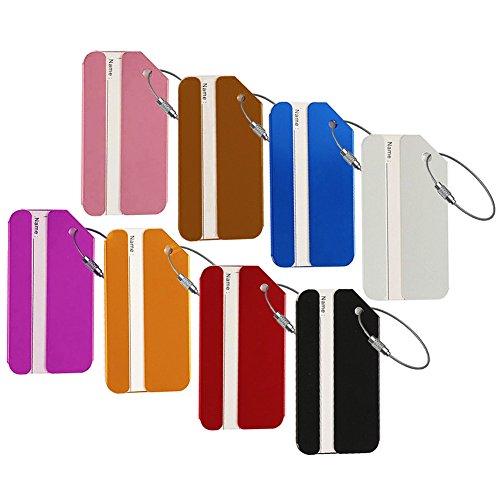 Gepäck Tags, Aluminium Metall Bag Tag Reisen ID Kennung Etiketten Tag für Gepäck, Koffer Taschen, 8Farben (Bag Tag Reisetaschen)