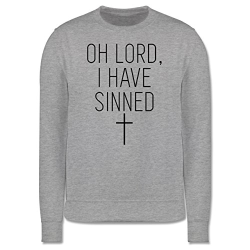 Statement Shirts - Oh Lord, I have sinned - Herren Premium Pullover Grau Meliert