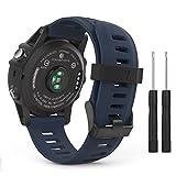 MoKo Armband für Garmin Fenix 3 / Fenix 5x Sport Watch - Silikon Sportarmband Uhr Band Strap Ersatzarmband Uhrenarmband mit Werkzeug für Garmin Fenix 3 / Fenix 3 HR GPS Smart Watch, Mitternachtsblau