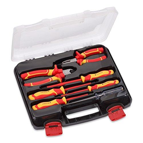 Werkzeugkoffer Werkzeugset 7 Teile Phasenprüfer Schraubendreher - 30 x 28 x 5 cm