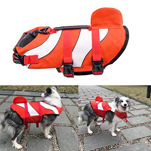 POPETPOP Schwimmweste für Hunde, Hund Schwimmwesten für das Schwimmen im Freien Sicherheitsweste - Dog Saver Schwimmweste für Wassersicherheit am Strand, Pool, Bootfahren - Größe M (rot) -
