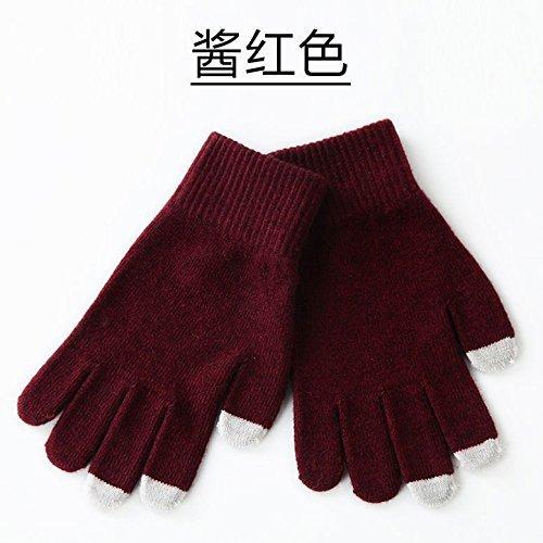 HOMEE Berühren Sie die Handschuhe, die warme Winterliebhaberhandschuhe radfahren,Sauce Rot,F Glas-sauce-gerichte