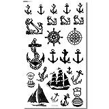 EROSPA® Tattoo-Bogen temporär - Schiffsanker Marine Seefahrt Seemann - Oberarm / Unterarm / Oberschenkel / Unterschenkel / Wade / Beine / Dekolleté / Hüfte / Rücken / Bauch - 10 x 17 cm - Aufkleber Sticker Körperkunst Abziehbar - Wasserdicht