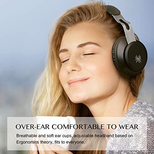 OneAudio Bluetooth 5.0 Kopfhörer, Kabellose Over Ear Kopfhörer mit eingebaute Mikrofon und Klarem Bass, Dual 40mm Treiber Verstellbare Blootooth Headset mit Soft Memory-Protein Ohrenschützer - 2