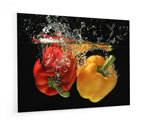 'Boden für Dunstabzugshaube aus Glas Synthese oder Kredenz-Küche bereit Stellen mit Doppelseitiges Klebeband Paprika gelb und rot ponglée in Wasser--dicke 4mm-[Kunstdruck Wand®] L. 90 x H. 70 cm