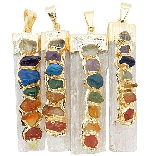 Uno Selenite Freeform colgante w/acentos de piedra de 7Chakra chapado en oro Cap/fianza RP exclusivo CO