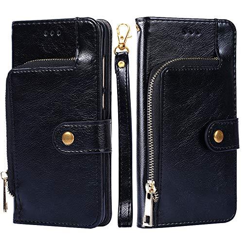 Wendapai Huawei Honor Play Brieftasche Leder Hülle mit Schutz dauerhaft Leather Case Hülle Bag mit Kartenschlitzs,Cash Pocket,Black