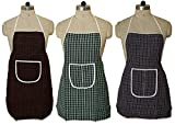 #5: Kuber Industries™ Check Design Waterproof Kitchen Apron With Front Pocket Set of 3 Pcs (Code- Ap030)