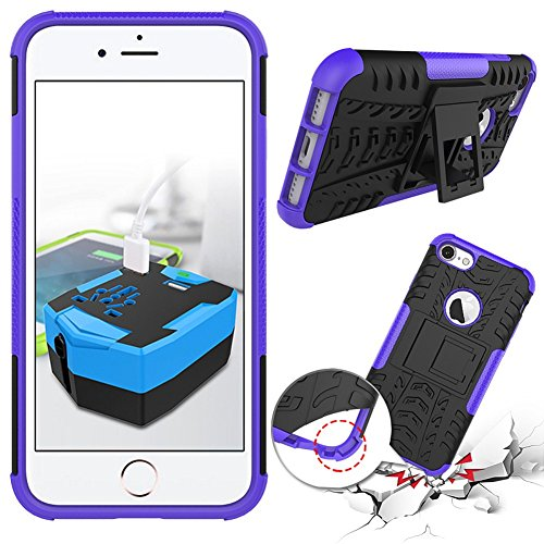 iPhone 8 Plus Heavy Duty Coque DWaybox Hybrid Rugged Armor Hard Back Housse Coque pour Apple iPhone 8 Plus 5.5 Inch Stand Coque avec Kickstand (Purple) Purple