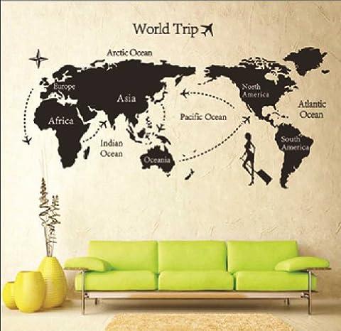 La Maison Et Le Monde - Mur étiquette Amovible Monde Voyage Carte Art