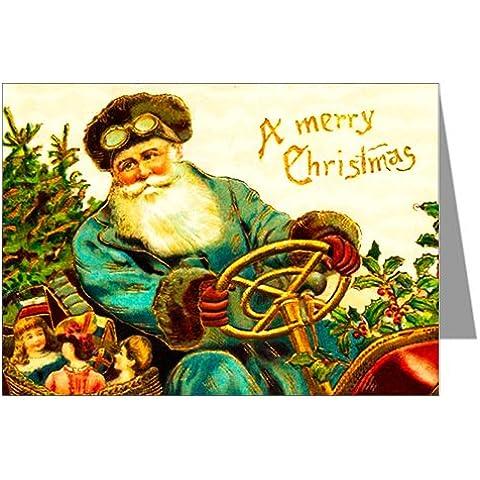 Classico Vendemmia–Biglietto di auguri Natalizio, guida auto con regali di Natale, le vacanze viktorianische nota carte Box Set