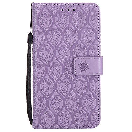 DENDICO Funda Huawei P8 Lite 2017, Funda Huawei Nova Lite, Premium Flip Libro Cuero Carcasa, Carcasa PU Leather con TPU Silicona Protección Carcasa para Huawei P8 Lite 2017 / Nova Lite - Púrpura